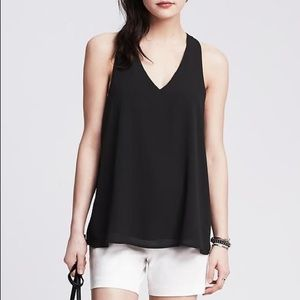 Banana Republic Black Cross Back Crepe Tank